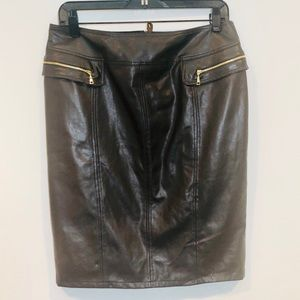 BASLER Brown Lambskin Nappa Leather Skirt